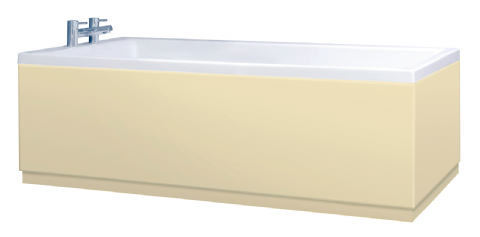 Low Level High Gloss Cream Bath Panels with Plinths